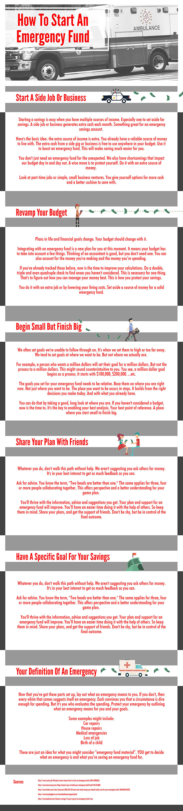 How To Start An Emergency Fund - Infographic
